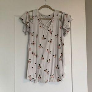 White floral print blouse